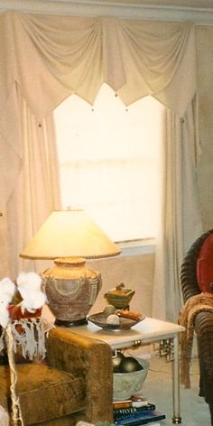 Chelsea Upholstery & Window Coverings Soft harlequin valance with side panels. San Rafael Ca. by appointment 453-6474