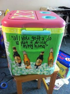 This is so cool for a cooler for beer. , maybe do one for water and soda/ kid drinks as well. Fraternity Coolers, Frat Coolers, Coolest Cooler, Diy And Crafts, Arts And Crafts, Crafty Craft, Crafting, Cooler Painting, Sorority Crafts
