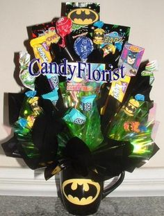 BATMAN Candy Bouquet Centerpiece w/ Edible Party by CandyFlorist