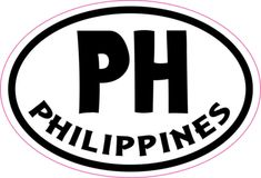 3in x 2in Oval PH Philippines Sticker Vinyl Cup Decal Bumper Stickers