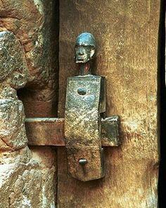 Gorgeous Dogon Door Lock Detail - very rustic. Door Knobs And Knockers, Knobs And Handles, Door Handles, Cool Doors, Unique Doors, Door Detail, Door Accessories, Door Furniture, Door Locks