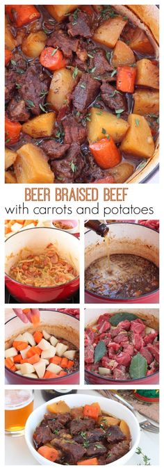 Beer braised beef with carrots and potatoes recipe Flavorful beer braised beef with carrots and potatoes, cooked slow and low in the oven is an effortless weeknight meal. One bite of this tender, juicy, tad spicy beef is going to send you over the moon. Potato Recipes, Meat Recipes, Slow Cooker Recipes, Cooking Recipes, Sirloin Recipes, Kabob Recipes, Fondue Recipes, Vegetarian Cooking, Dutch Oven Cooking