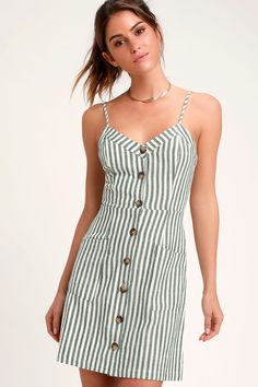 c6cc6041ed On the Pier Green and White Striped Button Front Mini Dress