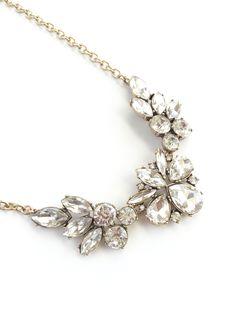 Floral Blossom Crystal Wedding Statement Necklace - Wink of Pink Shop