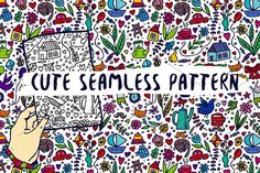 Cute Doodle Seamless Pattern by apolinarias on @creativemarket