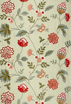 Palampore Embroidery  Celadon. Would be a lovely wallpaper for a little girl's room.