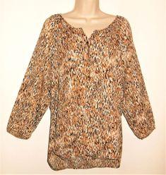 643db8d1c4f Rox   Ali Top XL 14 16 NEW High Low Hem Print Brown Black White Popover  Shirt  RozAli  Blouse