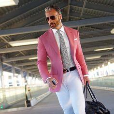 Hot Pink Suit Men Blazer Formal Men Suit With White Pants Smart Casual Business Terno Slim Fit Tuxedo Coat Jacket Costume Homme Mens Fashion Suits, Mens Suits, Fashion Hats, Pink Suit Men, Terno Slim Fit, Blazer Outfits Men, Men Blazer, Blazer Jacket, Man Stuff