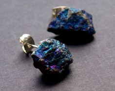 Pyrite Cluster Stud Earrings Raw Pyrite Earrings by AdamRabbit