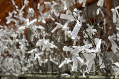 Japanese prayer tree; family and friends could write their wishes for you and place them on small tree centerpieces!