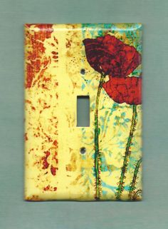 Two Poppies in Love Switchplate cover by TurnMeOnArt on Etsy