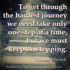 To get through the hardest journey we need take only one step...