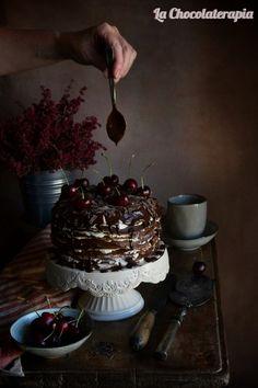 Tarta Selva Negra de Crepes de Chocolate - La Chocolaterapia- #valor #selvanegra #cerezas #chocolatenegro #crepes #sinhorno