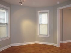 Behr's Dolphin Gray...love the color with white trim and wood floors