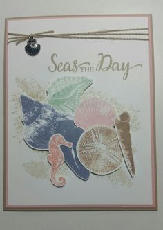 """Dies By Dave Beach"" Stampin' Ups So Many Shells stamp set (with some images from By the Tide as well. Hand Made Greeting Cards, Making Greeting Cards, Wrapping Paper Crafts, Nautical Cards, Beach Cards, Stamping Up Cards, Scrapbook Cards, Scrapbooking, Watercolor Cards"
