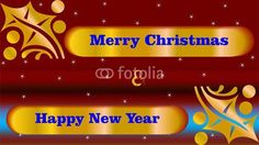 Golden Christmas wishes on red and blue background