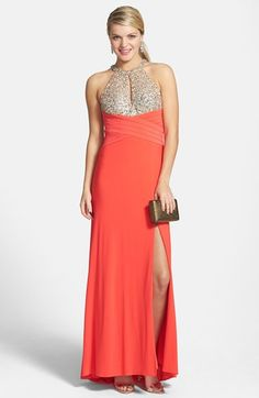 ecb092f039b Free shipping and returns on Morgan  amp  Co. Embellished Halter Gown  (Juniors)