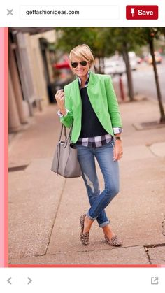 Love this look - minus the lime green blazer - maybe another color? The gingham check with the leopard flats - love it!