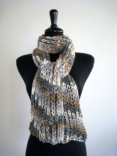 Gray Marble Handknitted Scarf by Knitsome Studio