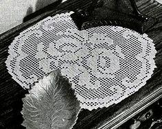 Rosy Future Doily crochet pattern originally published in Doilies, Spool Cotton Book 201. #doilypatterns #crochet