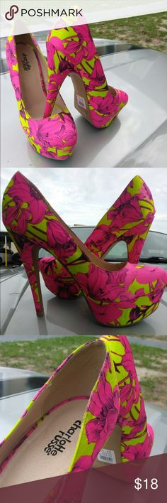High heels Beautiful bright colors, great for summer  race yellow with ash pink. Charlotte Russe Charlotte Russe Shoes Heels