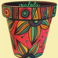 dolores pardo objetos (@vialola.tienda) | Instagram photos and videos Flower Pot Art, Flower Pot Design, Mosaic Flower Pots, Flower Pot Crafts, Painted Plant Pots, Painted Flower Pots, Painted Pebbles, Pottery Painting Designs, Pottery Art