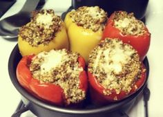 My healthy stuffed peppers recipe with ground turkey and quinoa.