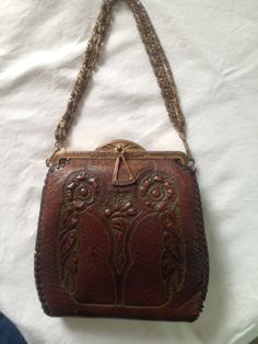 black crocodile purse - 1940 bag on Pinterest | 1940s, Tooled Leather and Top Handle Bags