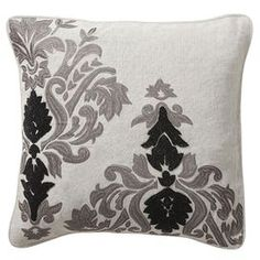 Bring chic style to your settee, chaise, or favorite reading chair with this plush pillow, showcasing a crisp upholstery and decadent down insert. Product: Pillow  Construction Material: Linen and feather down  Color: Grey, black and white   Features: Insert included