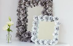 Here are some lovely recycled mirror frames. Wouldn't this look lovely displayed on a piece of furniture.
