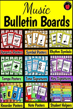 Music Bulletin Boards: Music Posters: Flashcards Back to School Music Deco March Lesson Plans, Music Lesson Plans, Music Lessons, Music Theory For Beginners, Basic Music Theory, Music Bulletin Boards, Back To School Bulletin Boards, Elementary Music, Elementary Library