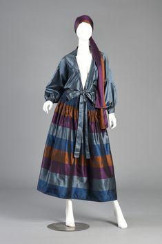 1970s Metallic Striped Silk Skirt + Blouse Dress Ensemble | BUSTOWN MODERN
