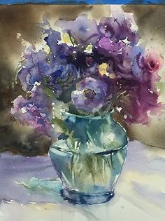 Lisianthus by Sarah Yeoman Watercolor ~ 16 x 13