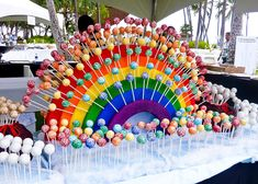 Cake pop display. Rainbow is made of foam and all pops are different flavours! Love this