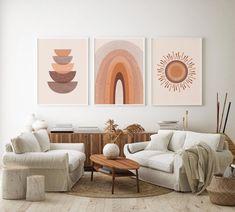 Mid Century Modern Print Set of Sun, Rainbow, Neutral Geometric Boho Gallery Wall Art, Digital do