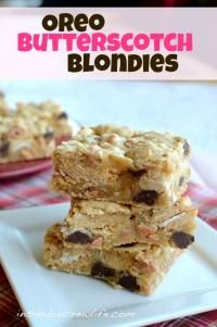 Oreo Butterscotch Coconut Blonde Brownies on MyRecipeMagic.com are full of gooey goodness!