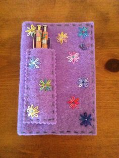 """Felt 5 1/2"""" x 3 1/2"""" Moleskine notebook cover   Flickr - Photo Sharing!  Embroidery"""
