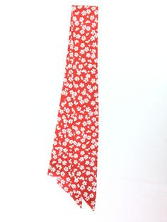 -Megumi Project-  Ribbon Scarf Red with White Flowers