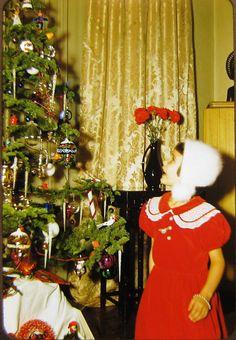 1950s cute little girl red dress christmas tree vtg kodachrome 35mm color slide