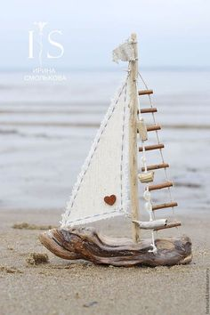 a small boat design by Irina Smol & kova. My Livemaster.Beige, …, The post Kindergarten handmade. a small boat design by Irina Smol'kova. My live master.Beige, … appeared first on Woman Casual. Driftwood Projects, Driftwood Art, Seashell Crafts, Beach Crafts, Wood Crafts That Sell, Boat Design, Design Design, Small Boats, Nature Crafts
