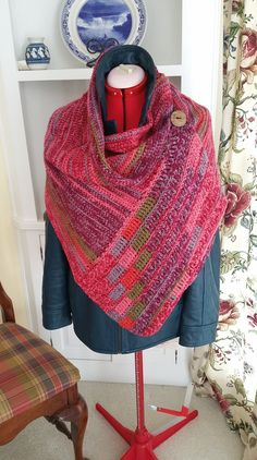 Ravelry: Buttoned Wrap pattern by Paula Marshall Crochet Cowel, Crochet Wrap Pattern, Crochet Square Patterns, Crochet Buttons, Crochet Scarves, Crochet Clothes, Knitting Patterns, Finger Crochet, Stitch Witchery