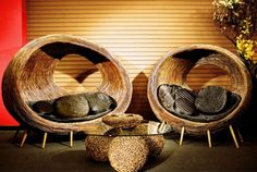 Vintage brown tree bark egg chairs.