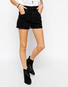 Image 4 - ASOS - Short en jean mom taille haute - Noir