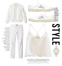 """""""white on white on white"""" by karaboyle ❤ liked on Polyvore featuring Rebecca Minkoff, Yves Saint Laurent, Skagen and By Terry"""