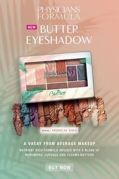 The Murumuru Butter Eyeshadow Palette features 12 universally flattering shades to take you from tropical days to sultry nights. Drugstore Makeup, Eyeshadow Makeup, Eyeshadow Palette, Eyeshadows, Lipsticks, Kiss Makeup, Hair Makeup, Makeup Pallets, Summer Makeup