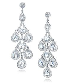 Cellini Jewelers Rose Cut Chandelier Drop These Dramatic chandelier earrings showcase over 20.54 carats of rose cut and round brilliants.