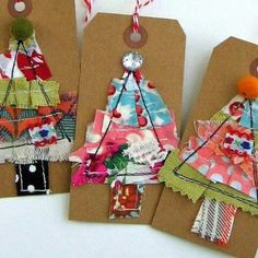 Fabric Holiday Tags, Fabric Scrap ChristmasTree Tags, Fabric Art Tags, Stitched Fabric Scrap Gift Tags, Scrapbook Christmas Tags - No. Christmas Scrapbook, Christmas Sewing, Christmas Gift Tags, Christmas Wrapping, Homemade Christmas, Christmas Ornaments, Christmas Ideas, Noel Christmas, Holiday Ideas