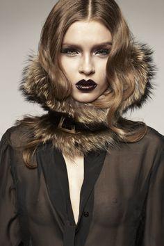 Dramatic mix of sexy sheer black chiffon and fur