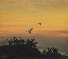 Thorolf Holmboe (Norwegian 1866-1935), Skarver i solnedgang [Cormorants at Sunset]. Watercolour and ink on paper pasted on cardboard, 67.3 x 78.3 cm.