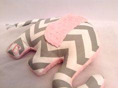 Personalized Elephant Pillow_Zoo Nursery_White Grey Pink Elephant_Chevron Elephant Pillow on Etsy, $38.00